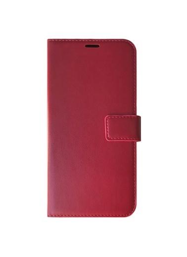 Microsonic Casper Via F20 Kılıf Delux Leather Wallet Gold Kırmızı